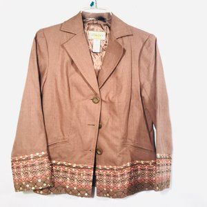 VICTOR COSTA Camel Pink Cotton Light Blazer Jacket
